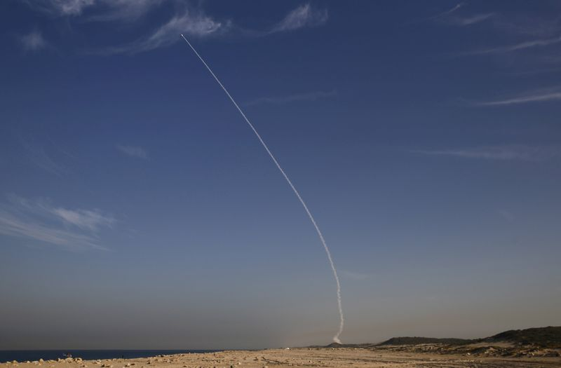 An 'Arrow 3' ballistic missile interceptor is seen during its test launch near Ashdod, Israel December 10, 2015. — Reuters pic