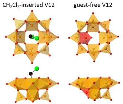 Anion Structures of CH2Cl2(Guest)-Inserted V12 and Guest-Free V12