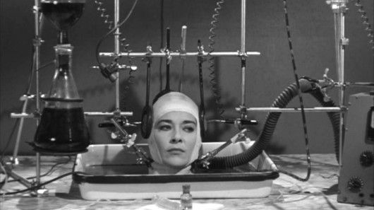 A woman's severed head awaits a new body, in the 1962 film The Brain That Wouldn't Die