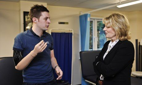 Corporal Andrew Garthwaite with the defence minister Anna Soubry