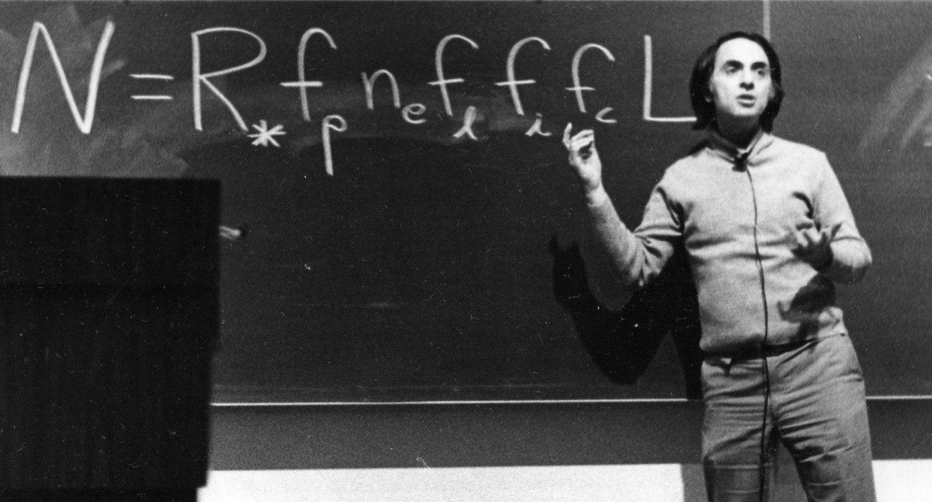 Sagan explains the Drake Equation. (Click for 2 photos with solution)