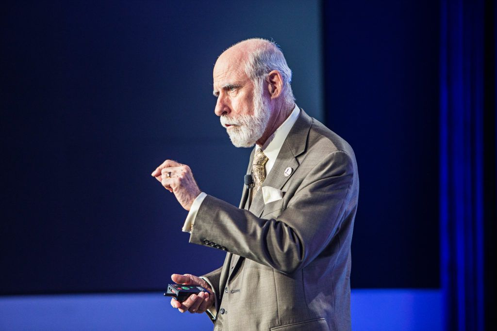 WASHINGTON, DC- MAY 18:Vinton G. Cerf speaks at The Washington Post via Getty Images Transformers event. (Photo by April Greer For The Washington Post via Getty Images)