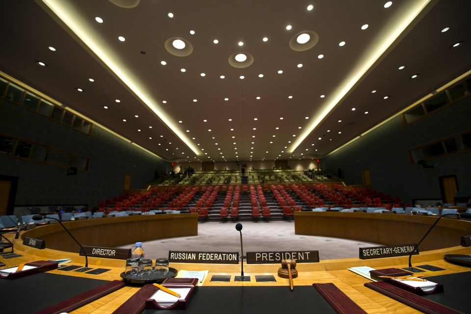 """The Security Council chamber is seen from behind the Council President's chair at the United Nations headquarters in New York City September 18, 2015. As leaders from almost 200 nations gather for the annual general assembly at the United Nations, the world body created 70 years ago, Reuters photographer Mike Segar documented quieter moments at the famed 18-acre headquarters on Manhattan's East Side. The U.N., established as the successor to the failed League of Nations after World War Two to prevent a similar conflict from occurring again, attracts more than a million visitors every year to its iconic New York site. The marathon of speeches and meetings this year will address issues from the migrant crisis in Europe to climate change and the fight against terrorism. REUTERS/Mike Segar TPX IMAGES OF THE DAYPICTURE 20 OF 30 FOR WIDER IMAGE STORY """"INSIDE THE UNITED NATIONS HEADQUARTERS""""SEARCH """"INSIDE UN"""" FOR ALL IMAGES       TPX IMAGES OF THE DAY      - RTX1SAQB"""